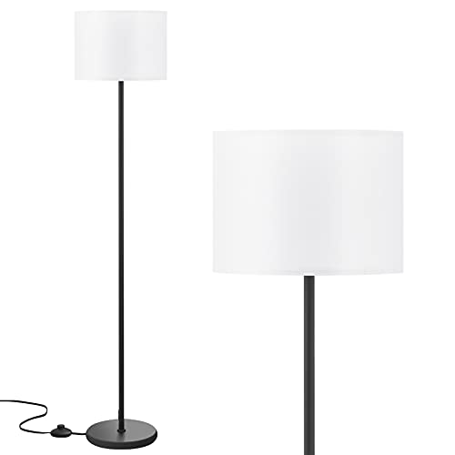 LED Floor Lamp Simple Design, Modern Floor Lamp with Shade, Tall Lamps for Living Room Bedroom Office Dining Room Kitchen, Black Pole Lamp with Foot Switch(Without Bulb)