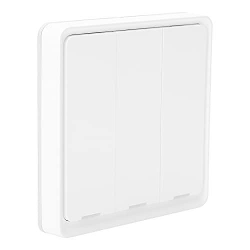 Eulbevoli Interruptor inalámbrico, ZigBee Switch 5.0 de 3 Teclas Compatible con Zigbee para Cocina para Dormitorio