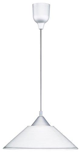 TRIO, Suspension, Diego 1xE27, max.60,0 W Verre, Blanc, Corps: Plastique, Couleur aluminium Ø:30,0cm, H:125,0cm IP20