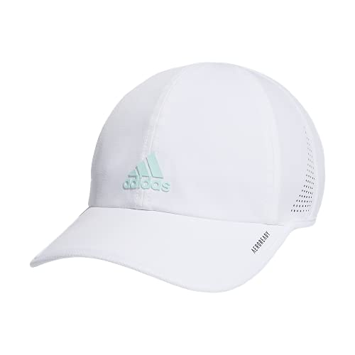 adidas Boys' Kids Girl's Superlite Relaxed Adjustable Performance Cap, White/Halo Mint Green, One Size