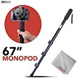 Zeikos ZE-MP67 67' Inch Camera Monopod Bundle for Canon, Nikon, Sony, Samsung, Olympus, Panasonic, Pentax, and All Digital Cameras, Includes Miracle Fiber Microfiber Cleaning Cloth and Carrying Bag