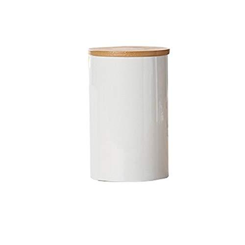 SHOUNAO Almacenamiento de cerámica Can Bambo Cover Specices Far Jar Sugar Café Contenedor Caja Granos Nuts Tanque Cocina Organizador Herramientas de Hogar Suministro (Color : L)
