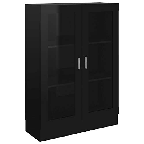 vidaXL Vitrina Armario de Libros Estantería Estante Soporte Almacenamiento Oficina Hogar Decoración de Aglomerado Negro Brillante 82,5x30,5x115 cm