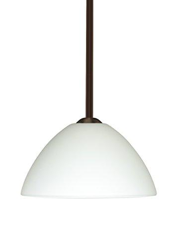 Besa Lighting 1TT-420107-BR 1X75W A19 Tessa Pendant with White Glass, Bronze Finish