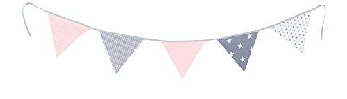 Guirnalda de banderines de ULLENBOOM ® con rosa gris (guirnalda de tela: 1,90 m; 5 banderines; decoración para la habitación de los niños; fiestas de bienvenida para bebés)