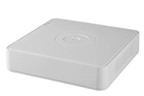 Hikvision DS-7104HQHI-K1 4MP 4CH Turbo HD DVR H.265PRO+ con ulteriore 1CH IP (convertire fino a 5CH IP), 1 SATA HDD (HDD non incluso). Registrazione completa del canale fino a 4MP Lite risoluzione.