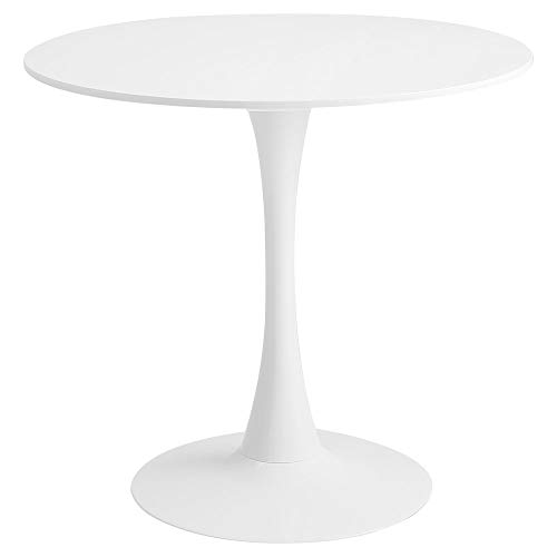 Roomnhome Blanc Round Sturdy décor Table with a Combination of Iron Frame and 0.7'' Thickness MDF top, self-Assembly Home and Kitchen 28.7'' Height Table
