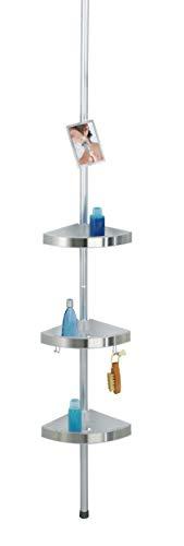 WENKO Rinconera telescópica Premium con espejo, Aluminio, 25 x 70-260, Aluminio, Plata
