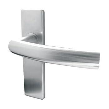 Satin Stainless-Steel euro lock door handles on backplate