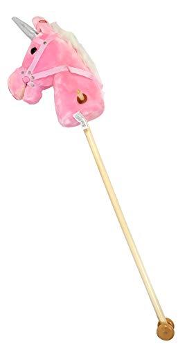 IMEX Plusch Steckenpferd mit Räder und Sound, 3Farben, Einhorn. 94 cm, Steckpferde:Steckenpferd pink Einhorn