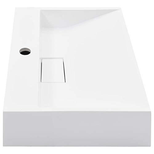 Tidyard- Waschbecken 50 x 50 x 12,3 cm Mineralguss/Marmorguss Weiß Waschbecken Waschtisch Waschschale Aufsatzwaschbecken Aufsatzwaschtisch mit Wasserhahnloch