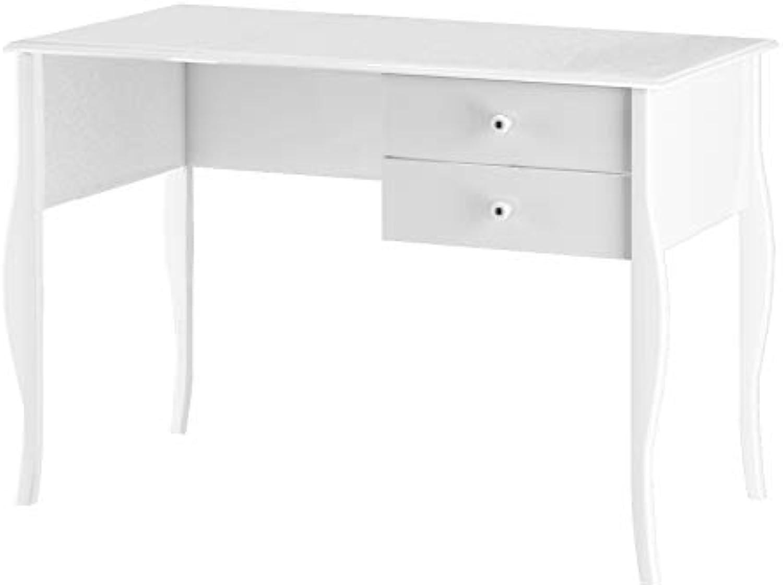 Loft24 Charming Schreibtisch wei Bürotisch Computertisch PC Tisch Arbeitstisch Holz, MDF, 2 Schubladen, 112x75 cm