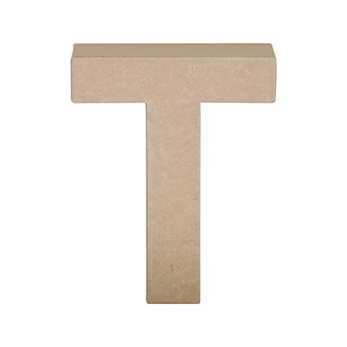 Papier Mache Letter T, Brown