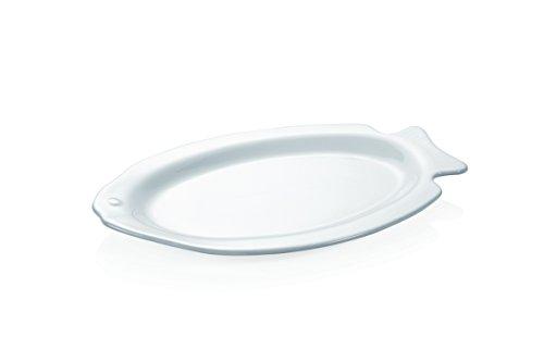 Fischteller aus Porzellan in weiß in Fischform (Abmessung: 32 x 20,5 cm / 37 x 25 cm) (32 Zentimeter, 20,5 Zentimeter)