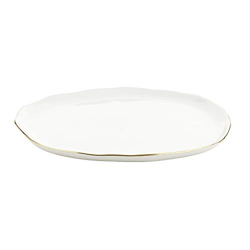 SB Design Studio Table Sugar Collection Ceramic Dinner Plate, Large, White