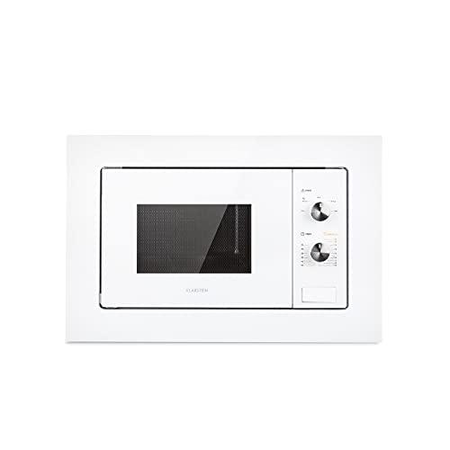 Klarstein Luminance Einbau-Mikrowelle, 20 L, 800 W, Auftaufunktion, Garfunktion, 5 Leistungsstufen, 24,5 cm Ø Glasteller, 39 x 59,5 cm (H x B), spiegelnde Front, weiß