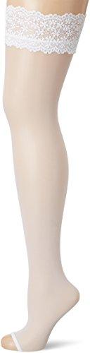 Fiore Damen ELUXA/GOLDEN LINE CLASSIC Halterlose Strümpfe, 20 DEN, Weiß (White 033), Medium (Herstellergröße:3)