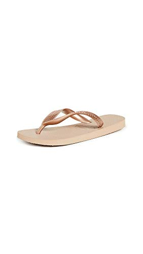 Havaianas Women's Top Tiras Flip Flop Sandal, Rose Gold, 7-8