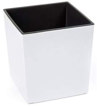 MelTom XXL Pflanzkübel aus Kunststoff in Hochglanz Farbe: Weiß mit Herausnehmbaren Einsatz, BxTxH in cm: 40 x 40 x 41 cm, Eckig