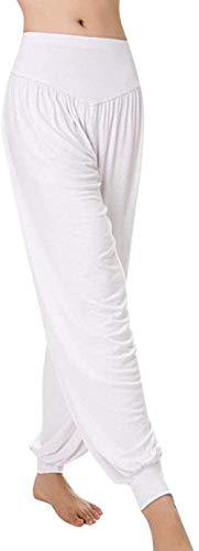 TBBE Yogahose für Damen und Herren, für Yoga, Harems, Lounge, Boho-Fallschirmspringer, lockere Baggy-Hose für Unisex, lässig, Größe L, Weiß