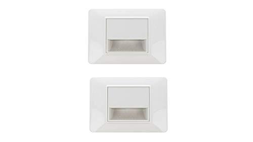 2 Pezzi Segnapasso Led Bianco 220V 1,6W Freddo 6500K Per Cassette 503 Compatibile Vimar Plana