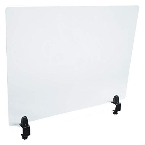 PLEXIDIRECT - Spuckschutz Plexiglas Schutzwand Thekenaufsatz Trennwand Büro Schreibtisch Acrylglas Büroschirm Niesschutz, 3mm Schirm, NORI Tischklemme Aluminium Silber (18-50mm), 750 x 650 mm (BxH)