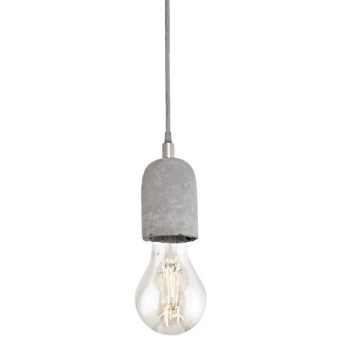 EGLO Pendelleuchte Silvares, 1 flammige Schnurpendel Hängelampe Vintage, Industrial, Hängeleuchte aus Stahl und Beton in grau, Esstischlampe, Wohnzimmerlampe hängend mit E27 Fassung