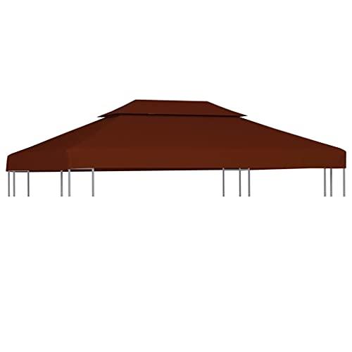 Ksodgun Toldo de cenador 2 Niveles, Cubierta de Terracota para pabellón Exterior de Dos Pisos 3 x 4 m - tamaño del Piso Superior 80 x 80 cm