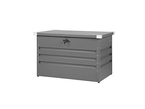 Beliani Outdoor Steel Storage Box Lockable Rectangular Metal Cushion Chest 300L Grey Cebrosa