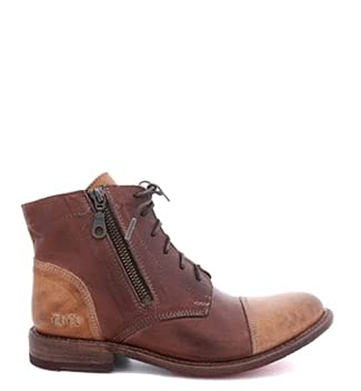 Bed Stu Bonnie Women's Distressed Leather Lace Up Boot - Short Combat Ankle Bootie, Size 7.5, Tan Teak Rustic