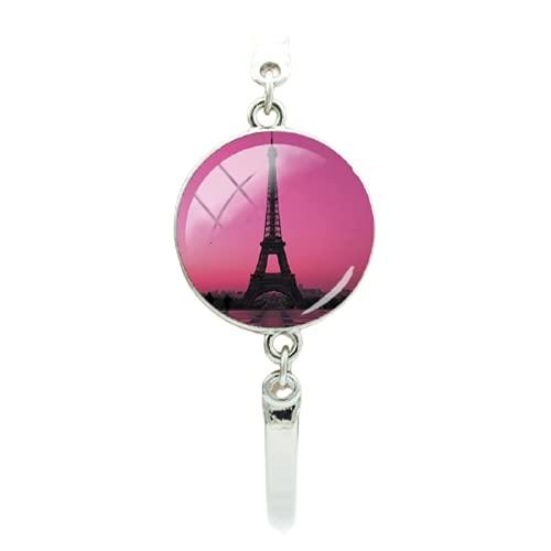 Pulsera de cabujón de cristal de la torre Eiffel de París vintage, hecha a mano para mujer