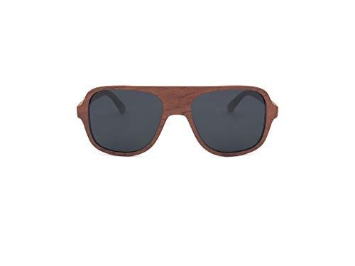 GREEN STUFF Juna - Die Öko Holz-Sonnenbrille inkl. Etui aus edlem Bambusholz | Damen und Herren | 1 VERKAUFTES PRODUKT = 1 GEPFLANZTER BAUM | (Rosenholz)