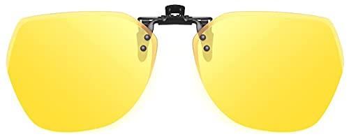Gafas De Sol Polarizadas con Clip sobre Gafas Graduadas, Protección UV Antideslumbrante con Abatible para Mujeres Y Hombres (Color : Yellow)