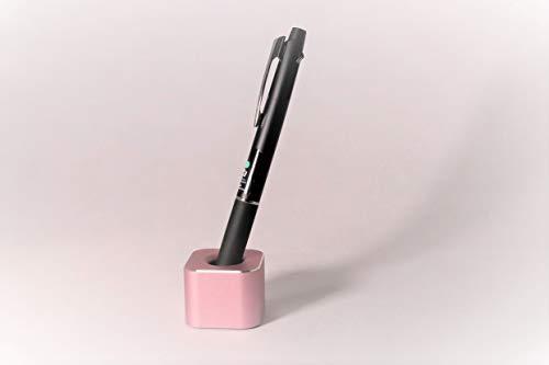 ペン立て 一本用 卓上 ペンスタンド アルミ合金製 オフィス 受付 おしゃれ文房具 (ピンク, 四角)