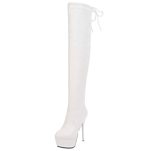 MISSUIT Damen Plateau High Heels Extrem Overknee Stiefel mit Schnürung Stiletto Platform Boots Reißverschluss(Weiß,38)