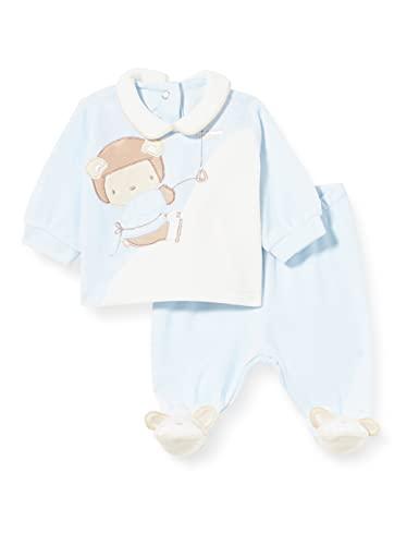 Chicco Completino Maglietta e Pantaloni in ciniglia Juego de Pijama, Azul Oscuro y Blanco, 56 cm para Bebés