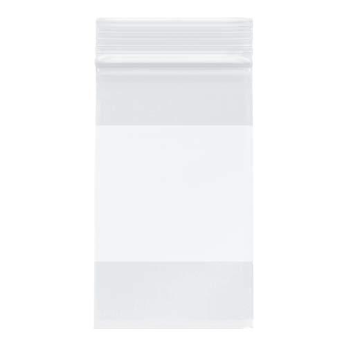 "Plymor Heavy Duty Plastic Reclosable Zipper Bags w/White Block, 4 Mil, 3"" x 5"" (Pack of 500)"