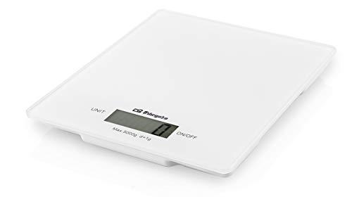 Orbegozo PC 1025 - Peso de cocina digital, pantalla LCD, control táctil, capacidad máx. 5 kg, función tara, funciona a pilas