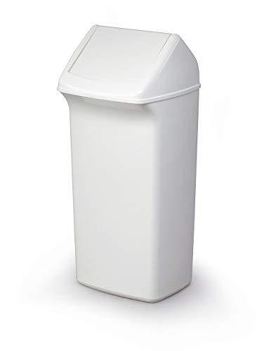 Durable 1809798010 Poubelle avec couvercle basculant Durabin Flip, 40 litres, 1 pièce, blanc
