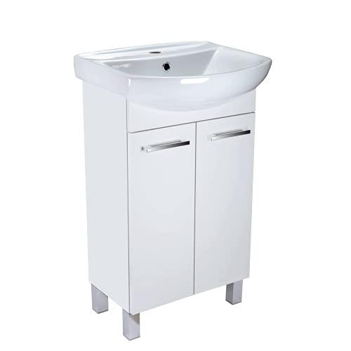 Lavabo con armario bajo Lugo, mueble de baño, juego de 50 cm, lavabo de pie con armario inferior (color blanco)