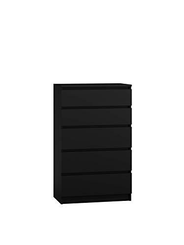 NOXEN Cajonera M5 70, color Negro, muebles de dormitorio, armario, cinco cajones, mesita de noche de almacenamiento para el hogar, sala de estar, pasillo (negro)