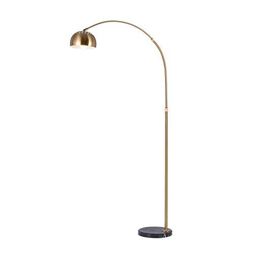 LXHK LED Moderne Wohnzimmer Stehlampe mit Marmor Basis, Metall E27 LED Standleuchte Bogenleuchte Gold, Einstellbarer Lampenschirm Bogenlampe für Schlafzimmer Arbeitszimmer Lesezimmer Büro