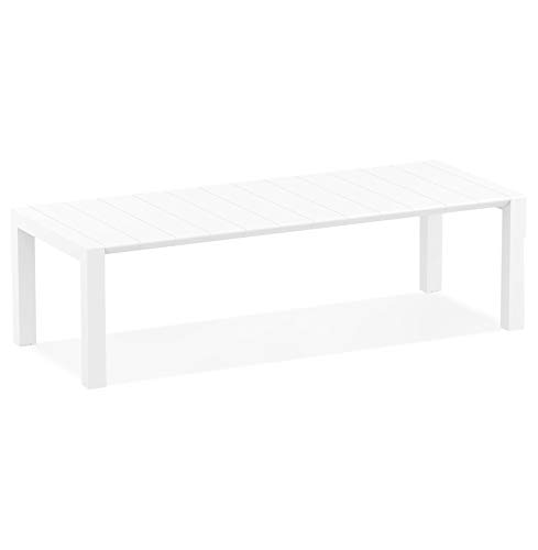 Alterego Table de Jardin Extensible 'ELASTIK Large' Blanche - 260(300) x100 cm