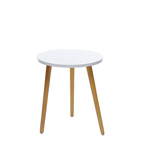 Mesa lateral moderna redonda de madera nórdica mesa de café cama sofá mesa auxiliar movible té fruta merienda mesa centro