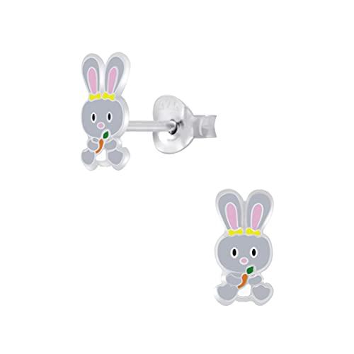 Boucles d'oreilles à tige pour enfant en argent sterling « Lapin de Pâques gris »