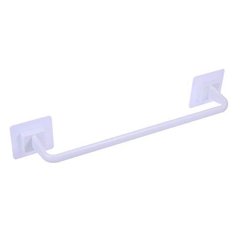 OUNONA 34CM Plastic Towel Hanger Rail No Drill Bath Towel Holder Single Bar Towel Holder for Kitchen Bathroom (White)