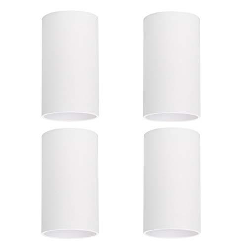Klighten 4 Stück Aufbauspot Matt Weiß Aufbauleuchte Aufbaustrahler GU10 Fassung, Deckenspots Aufputz Deckenleuchte Runde Deckenstrahler aus Aluminium, 56 x 100mm, Ohne Leuchtmittel