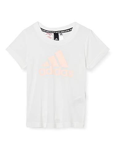 adidas YG MH Bos Tee Maglietta da Bambina, Bambina, Maglietta, GE0959, Bianco, Rosa (Corneb), 116 (5/6 Años)