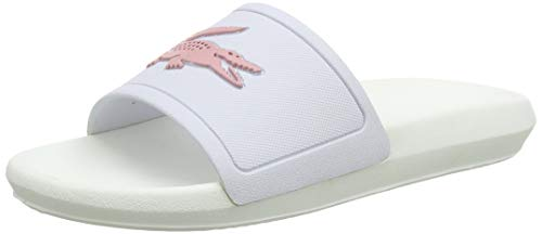 Lacoste Damen Croco Slide 119 3 CFA Sandalen, White/Light Pink, 39.5 EU