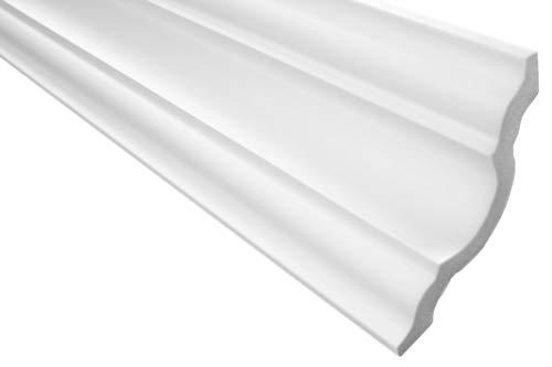 Zierleiste E-16 | leicht und stabil | extrudiertes Styropor | Stuckprofil | Decken-/ und Wandübergang | modern weiß | dekorativ | XPS | 96 x 96 mm | 2 Meter